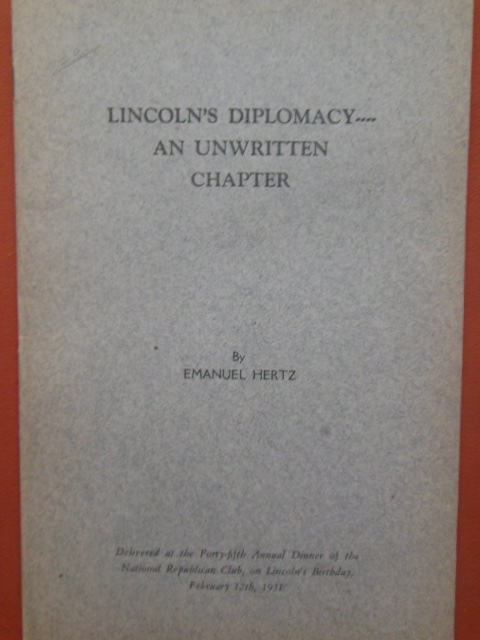 Image for Lincoln's Diplomacy: An Unwritten Chapter (1931)