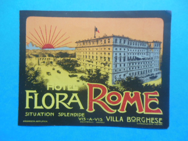 Image for Luggage Label Hotel Flora Rome (1920's)