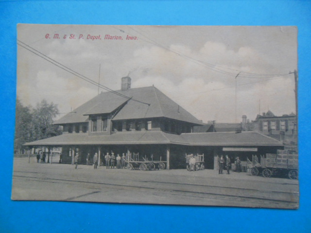 Image for Postcard C.M. & St. P. Depot, Marion, Iowa (circa 1908)
