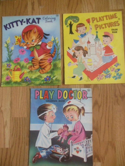 Image for Stephens Publishing Coloring Books: Kitty-Kat, Playtime Pictures, Play Doctor (1950's)