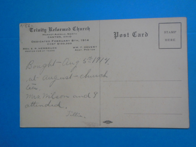 Image for Postcard Trinity Reformed Church Canton, Ohio (1914)