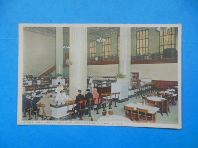 Image for Postcard Fred Harvey's Lunch Room Union Station, Chicago (1920's)