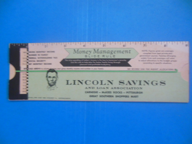 Image for Lincoln Savings and Loan Association Money Management Slide Rule (Pennsylvania 1962)