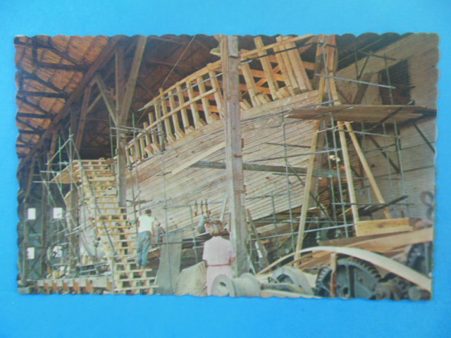 Image for Postcard Maine Shipbuilding Boothbay Harbor