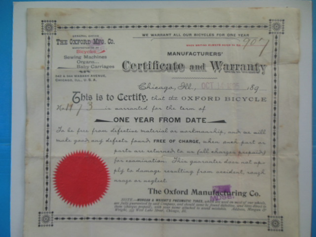 Image for Bicycle Certificate and Warranty Oxford Manufacturing Company 1895