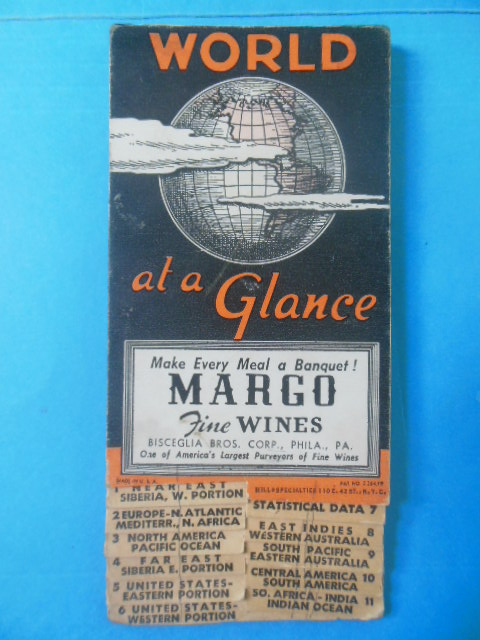 Image for World At A Glance Advertising Map Margo Fine Wines (1940's)