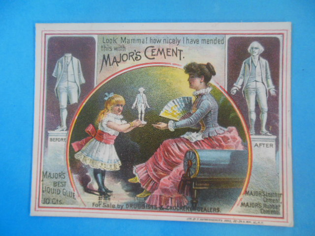 Image for Trade Card Major's Cement. Little Girl Shows Mother Repaired Statue.