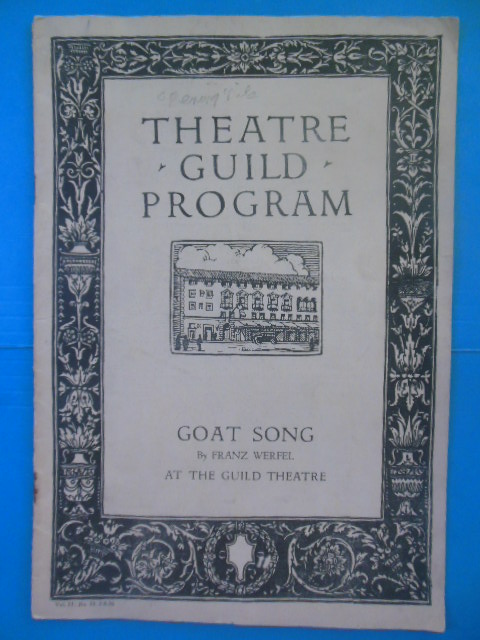 Image for Theatre Guild Program Goat Song by Franz Werfel, 1926 (Lynn Fontanne Opening Night)