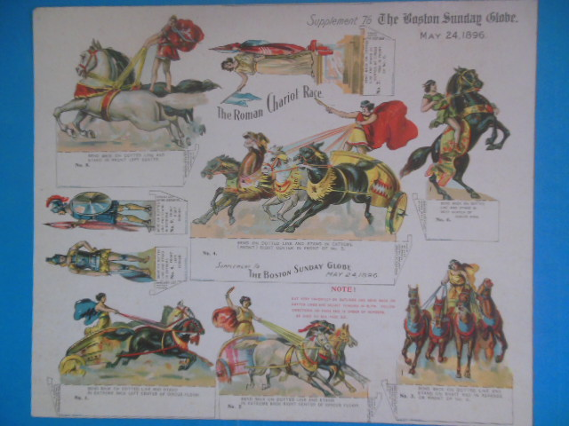 Image for The Roman Chariot Race Supplement to the Boston Sunday Globe. May 24,1896 (paper toys)