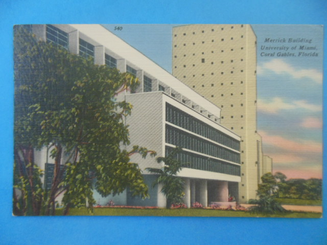 Image for Postcard Merrick Building University of Miami, Coral Gables, Florida (1957)