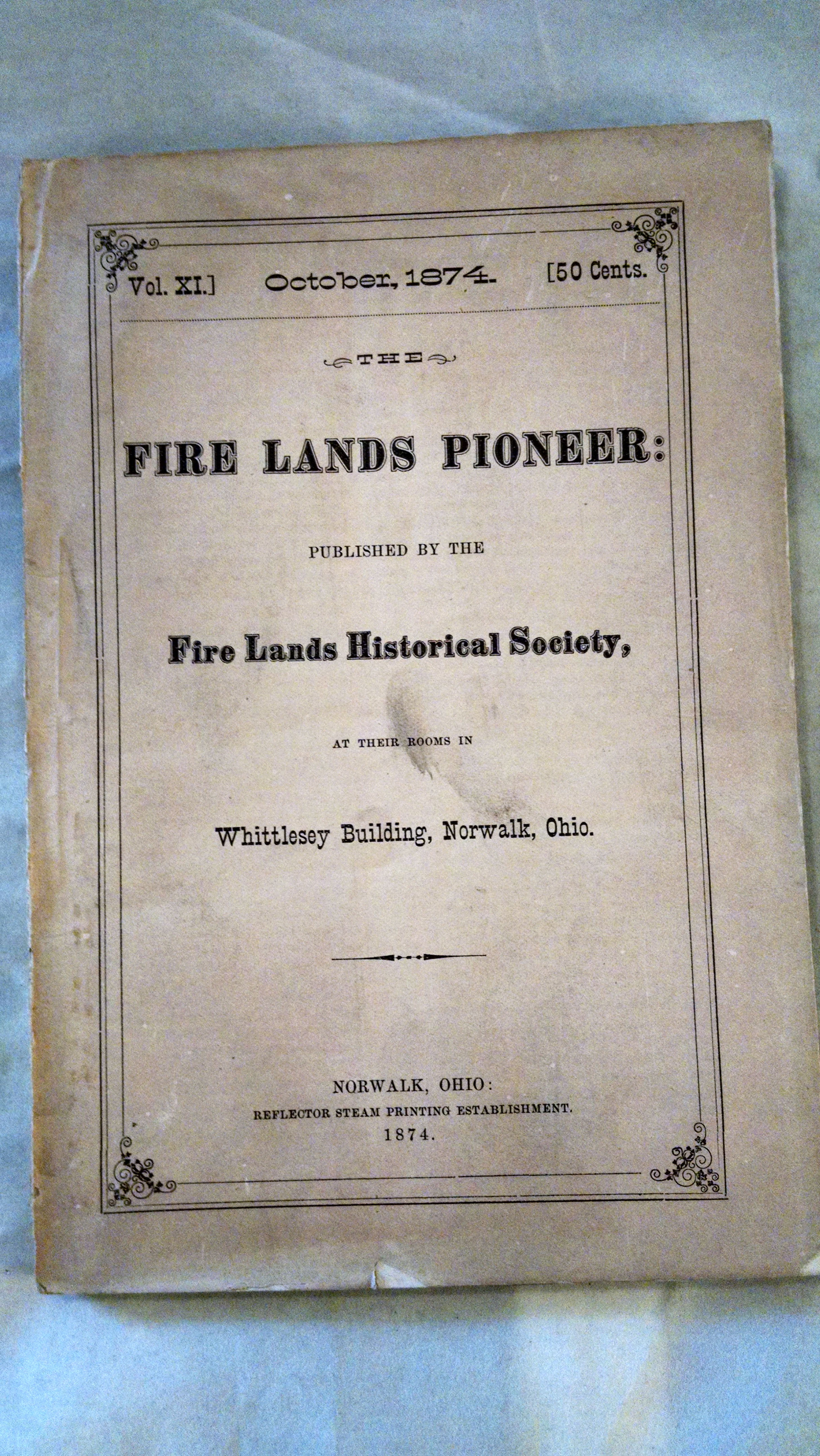 Image for THE FIRE L ADS PIONEER VOL XI  OCTOBER 1874