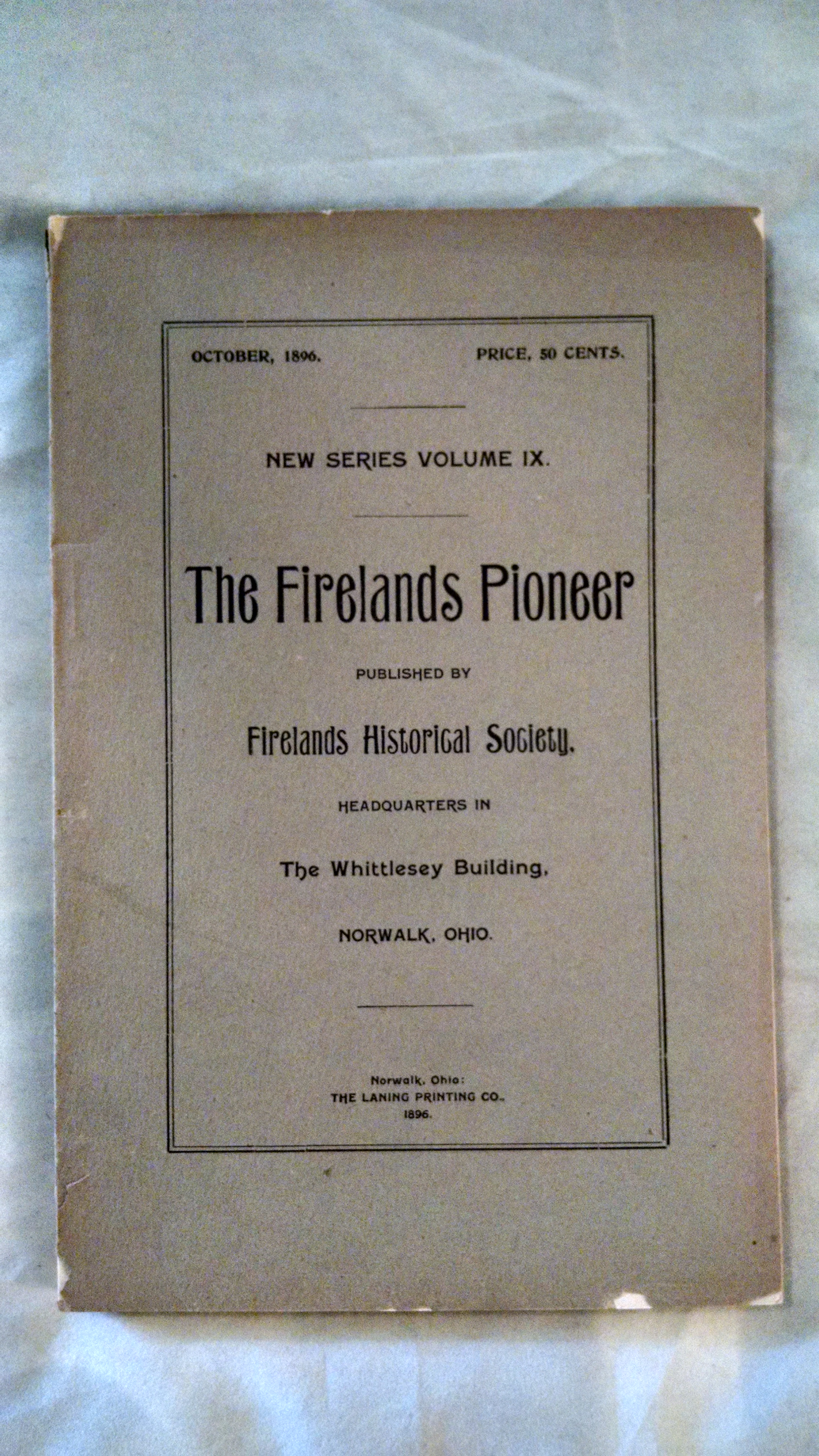 Image for THE FIRE LANDS PIONEER  OCT. 1896