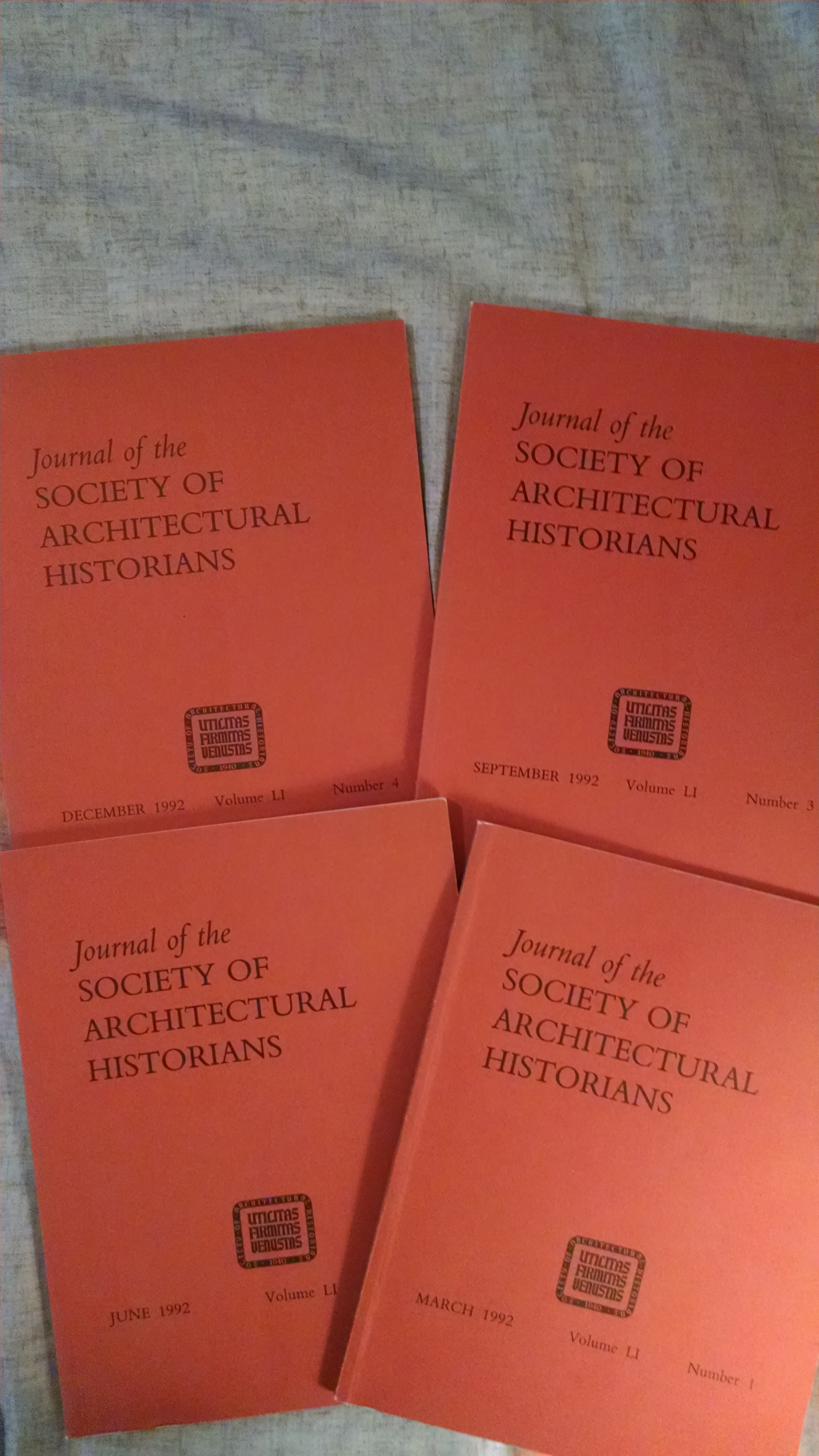 Image for JOURNAL OF THE SOCIETY OF ARCHITECTURAL HISTORIANS[  COMPLETE YEAR 1992  4 ISSUES]