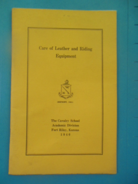 Image for Care of Leather and Riding Equipment (Reprint 1941)