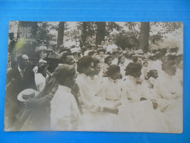 Image for Real Photo Postcard Sunday School Picnic Brewster Grove (1909)