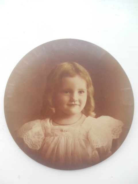 "Image for Round Metal Sepia Photograph Little Girl 6"" Diameter"