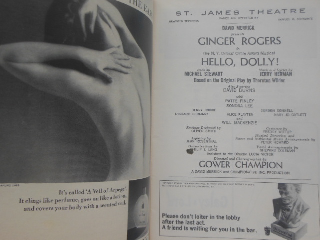 Image for Playbill Ginger Rogers in Hello Dolly. St. James Theatre, 1965