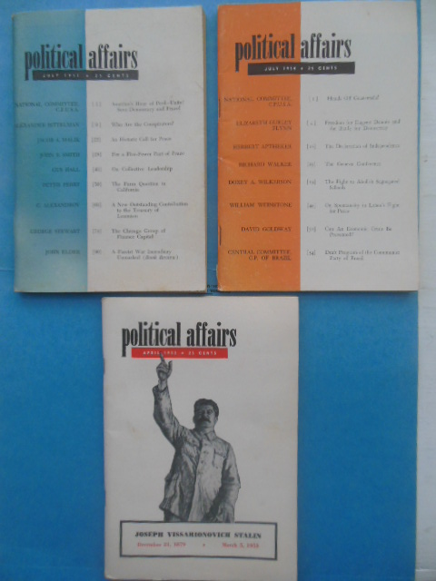 Image for Political Affairs Magazines (Three Issues, 1951-53-54)