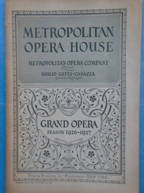 Image for Metropolitan Opera House  Grand Opera Season 1926-1927