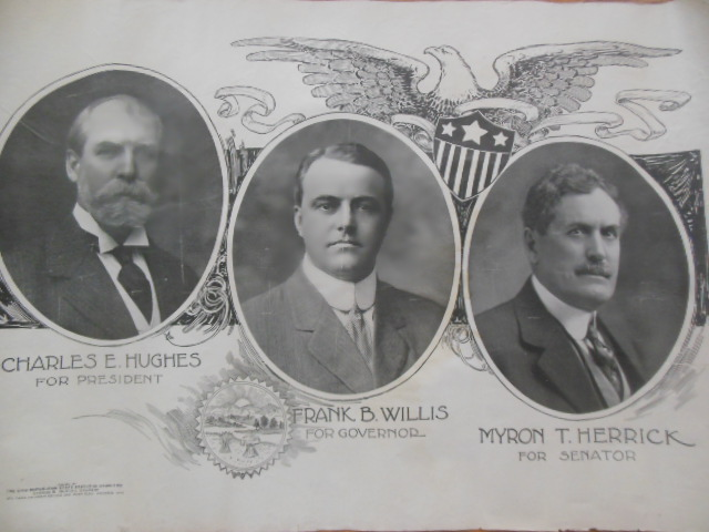 Image for Political Poster Charles E. Hughes for President; Frank B. Willis for Governor; Myron T. Herrick for Senator (Republicans, 1916)