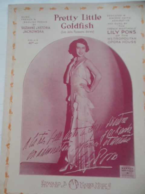 Image for Pretty Little Goldfish Lily Pons Sheet Music (1931)