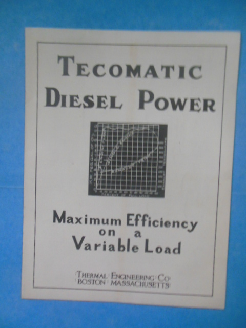 Image for Tecomatic Diesel Power Maximum Efficiency on a Variable Load (1936 Thermal Engineering Co.)