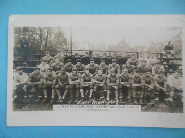 Image for Real Photo Postcard East High School Football Team, Cleveland, 1929 (Most players names on back)
