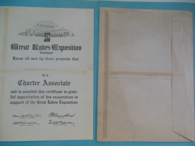 Image for Great Lakes Exposition Cleveland Charter Associate Certificate (1936-37)