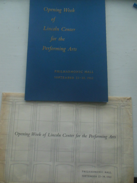 Image for Opening Week of Lincoln Center for the Performing Arts 1962. With original envelope.