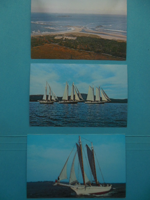 Image for Four Postcards Maine Popham Beach, Windjammer Mary Day; Windjammer Cruises; Windjammer Mattie