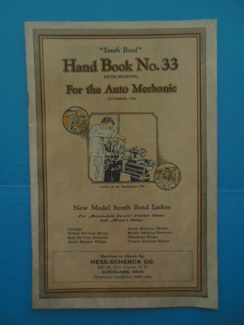 Image for South Bend Hand Book No. 33 For the Auto Mecahnic 1929