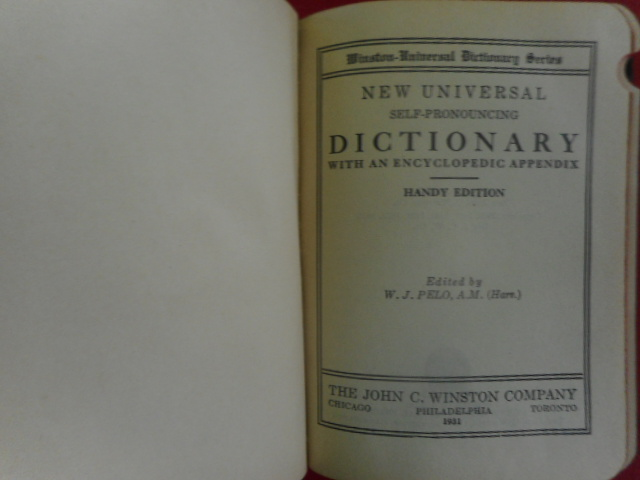 Image for New Universal Self-Pronouncing Dictionary With An Encyclopedic Appendix 1931