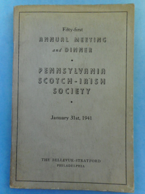 Image for Fifty-first Annual Meeting and Dinner, Pennsylvania Scotch-Irish Society, 1941