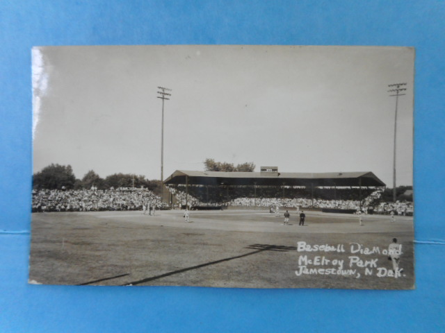 Image for Real Photo Postcard Baseball Diamond. McElroy Park Jmestown, Norh Dakota. 1951