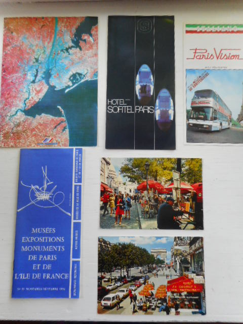 Image for Paris Vacation; double deck bus, Hotel Sofitel Paris, Musees Expositions Monuments Due Paris  and Air France menu, plus two beautiful colorful postcards