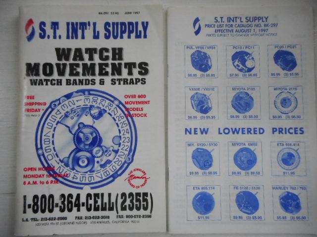 Image for S.T. International Supply.Watch Movements. Watch Bands and Staps. Catalog BK-297. June 1997