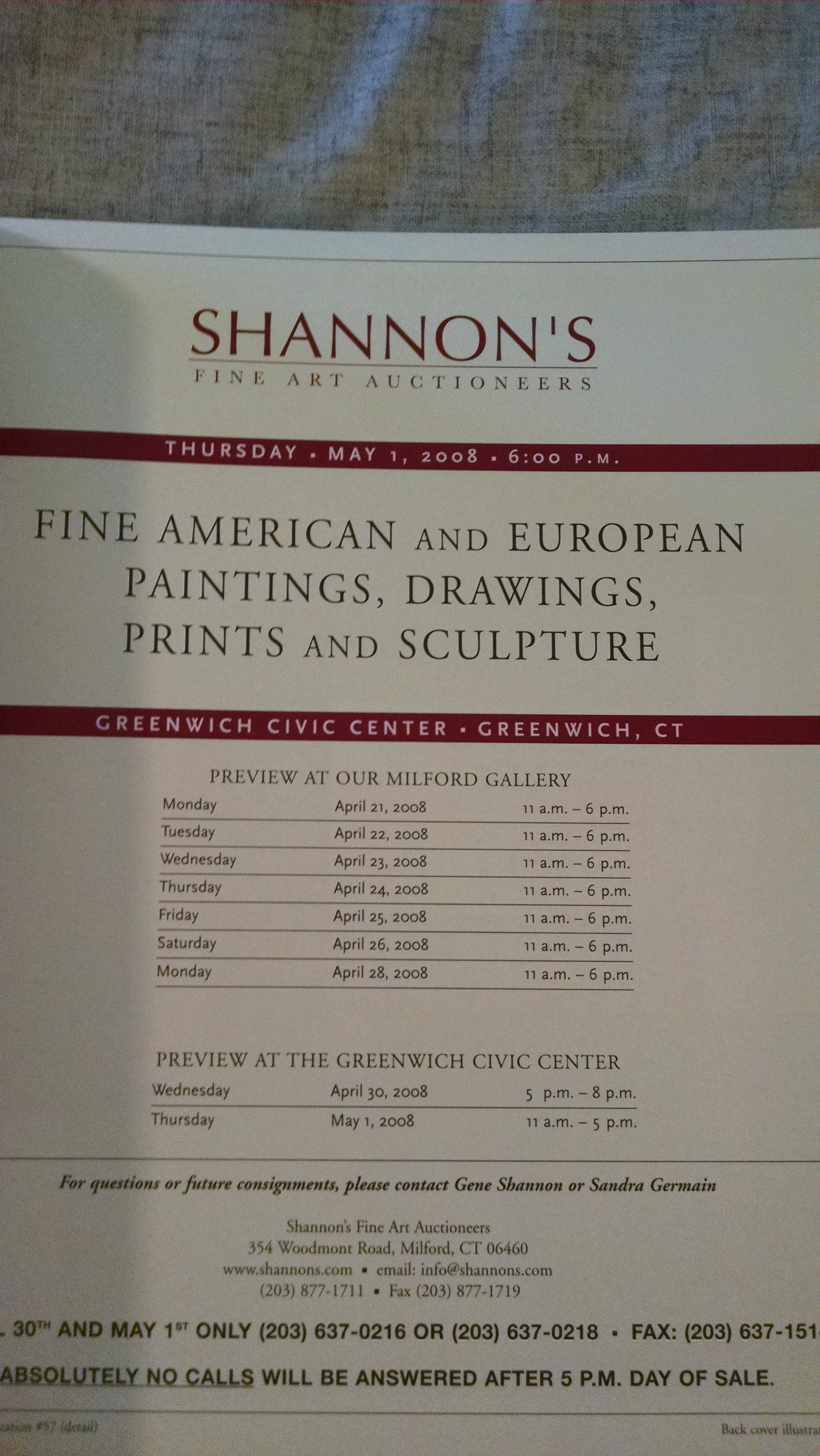 Image for SHANNON'S AUCTION CATALOG  MAY 1 2008